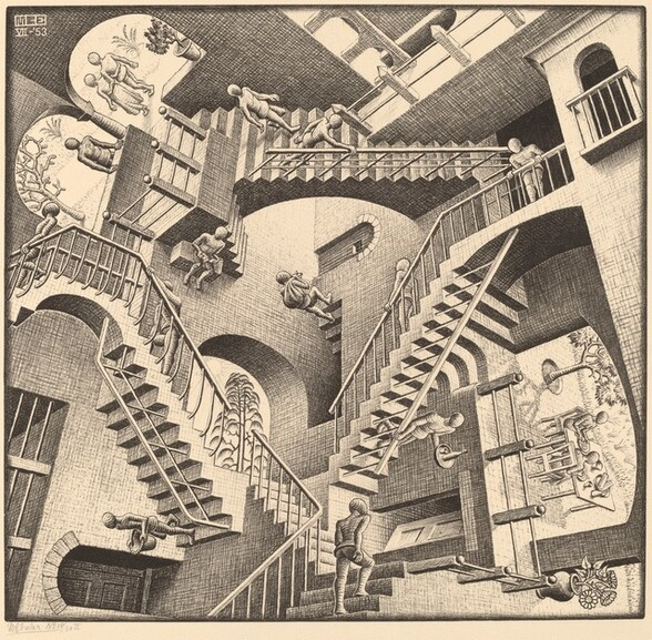 Created with black lines and shading on cream-colored paper, we seem to look down onto three, interconnected staircases in a triangle that shifts constantly to create an optical illusion in this square print. Nine faceless people walk up and down the staircases towards landings that are positioned at different angles. The bodies of the people are generalized, and some carry baskets, sacks, trays, or are empty-handed. There are arched doorways and openings on each landing and between some of the landings. Some doors are closed or ajar, and other arches open onto outdoor scenes with trees. Two people sit at a food-laden table through a wide opening, sideways, to our right. As our eye follows the progress of each individual person, we are constantly interrupted by a staircase, landing, door, or other person that disorients our sense of space.