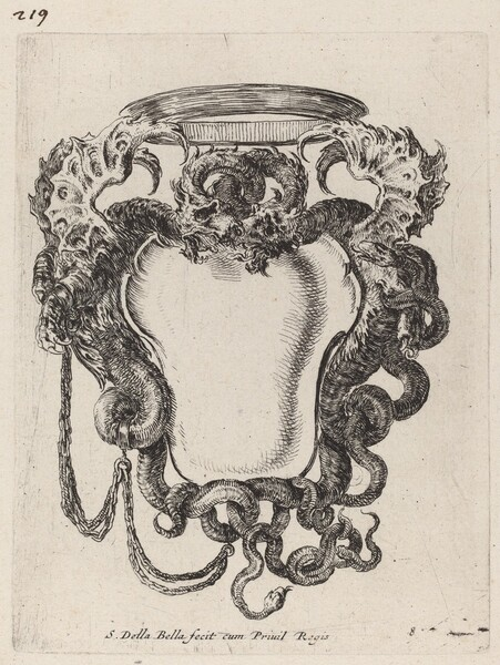 Cartouche Flanked by Dragons
