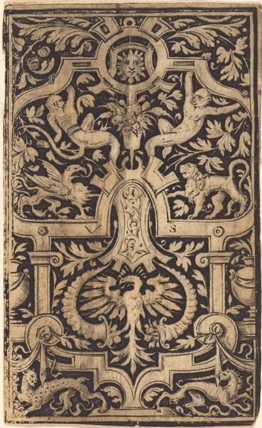 Strapwork and Foliage Ornament on Dark Ground with Monkeys and other Animals