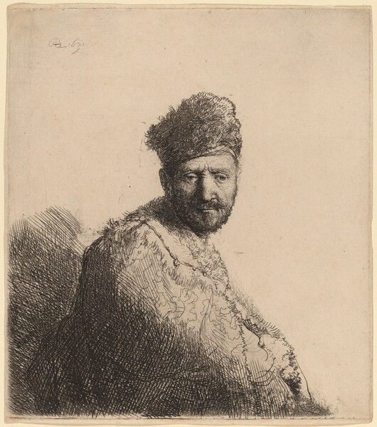Bearded Man, in a Furred Oriental Cap and Robe: the Artist