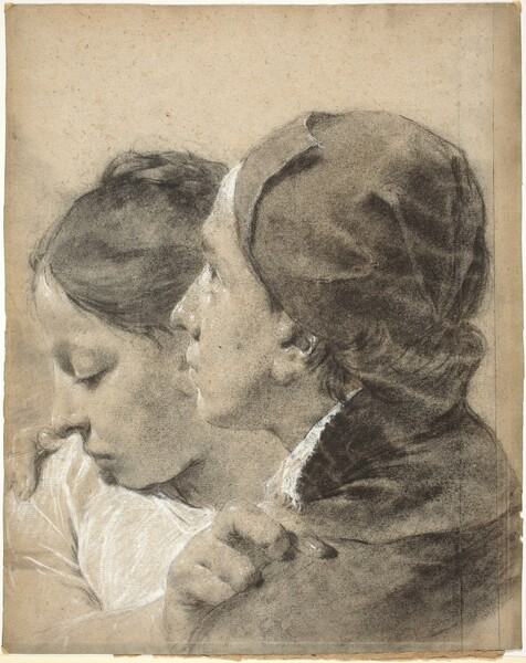 A Young Man Embracing a Girl