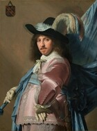 """Seen from the hips up, a man with pale skin and shoulder-length brown hair wears a long-sleeved, lace-trimmed, rose-pink satin jacket and pants and props a voluminous blue flag draped from a pole against his right shoulder in this vertical portrait. He stands with his body facing our left in profile with his left hand on his hip, elbow jutting out at us, but he turns his face to look directly at us with dark eyes. He has a straight nose, rosy cheeks, and a mustache and narrow goatee below his lips, which are slightly parted. He wears a wide-brimmed black hat generously adorned with pale blue, turquoise, pale yellow, and orange plumes. The fabric of his pink clothing reflects the light in wide patches of white, creating the impression of a satin sheen. Wide, pale gray lace lines the front opening of the jacket, the shoulders, the arms, and the sides of the trousers. His white lace collar is tied with a pale celery green bow and a bow of the same color appears to affix the lace cuff of the wrist we can see. A baby blue sash wraps around his waist and is probably tied at the back, but the area behind his body is lost in shadow because the man is lit from our left. Both hands are covered with ivory colored gloves. His left wrist rests against his body so the underside of those fingers dangle down while the other hand supports the blue fabric-covered flag pole. A sword hangs from his front hip. The fabric of the flag, or standard, drapes down from the flag pole, which extends off the top right corner of the canvas. A coat of arms, about the size of a person's palm, hangs from a nail with a string in the upper left corner on the taupe-colored wall behind the man. The coat of arms is made up of three fleur-de-lis lined up in a diagonal band and the remaining two corners are filled with stylized lions, long tongues curling out. The artist dated the work """"1640"""" in the lower left corner."""