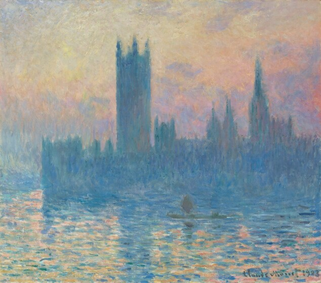 """A row of spire-like structures of different heights is silhouetted in azure blue against a soft pink, yellow, peach, and lavender sunset and reflected in a rippling river in this nearly square landscape painting. Along the horizon, the buildings stretch from our right, almost fully across the canvas, and are painted with vertical brushstrokes in cool shades of blue. The sky behind the towers seems hazy with intermingling, pastel-colored clouds. The buildings are reflected in the river, which fills the bottom third of the painting. The surface of the water is painted with short, horizontal brushstrokes in azure blue for the buildings, and apricot, rose, and marigold colors for the sky's reflection. Not noticeable at first, a streak and smudge of olive-green paint on the water represents a person in a boat near the center of the painting. The artist signed and dated the work in the same olive color at the lower right: """"Claude Monet 1903."""""""