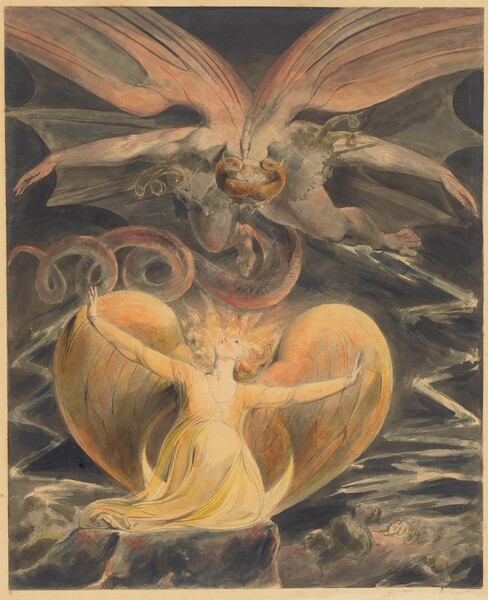 """A winged woman, painted with tones of pale and butter yellow, kneels on a rock and looks up at a winged, horned creature with steel gray skin and a curling tail flying above her in this vertical, graphite and watercolor work on paper. The woman, her body facing us, takes up most of the bottom half of the composition, and the winged creature the top half. The woman's long blond hair flies up around her upturned face like stylized rays of sunlight. Her arms are spread wide, wrists flexed so her palms face out, and her pale, apricot-colored wings curve up over her shoulders and tuck behind her in a heart shape. She seems to rest on a crescent moon with the tips pointing upwards, which in turn rests on a gray, squared rock. Mirroring her pose but flying so his body faces downwards as his feet point away from us, the person above the woman has a muscular physique. His long tail curls to our left in three loops, and is shaded with pale maroon-red. Golden orange ram's horns curve up from inside a golden crown encircling the top of his head, which faces us. Upon closer inspection, several faces, drawn with graphite and filled with nickel gray watercolor, also look down in profile onto the woman, as if connected around the neck. The profiles overlap and some of the heads have moss-green colored, curling horns. The tips of the flying person's outstretched fingers and arms nearly touch the sides of the paper and his light, rose-colored bat-like wings extend off both sides and the top of the composition. The background behind the people is dark gray with white zigzagging lines to the left and right of the woman. Faces also emerge from what we read as the ground, looking up from the lower right corner. The artist wrote his initials in black paint near the lower left: """"WB."""""""