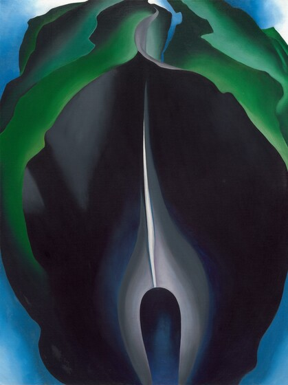 An abstracted painting of a roughly oval-shaped jack-in-the-pulpit flower fills this vertical composition with cool, rich blues, grays, and greens. A royal blue elongated, rounded core at the bottom center is surrounded by a pale gray flame-like shape. Petals flare outwards and up around the core to reach towards the sides and top of the canvas. A thin white line extends upward from the top center of the core to meet the pointed tip of the unfurling, innermost midnight blue petal. Layers of green, reminiscent of leaves, curl outward around the top half of the flower. Pale blue in each of the four corners creates the impression of a background behind the flower, and fades to white at the top corners.