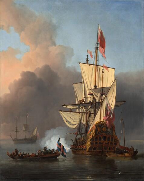 An English Warship Firing a Salute