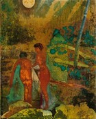 """Two nude, brown-skinned people stand in an abstracted landscape in this vertical work created with watercolor, ink, and collage. The two bodies are created with fields of brown mottled with marigold orange, and narrowing waists and flaring hips suggest they are women. Both women have black hair down to their necks drawn in with coiled lines. Near the lower left corner, one woman bends over, her back to us, with her legs pressed together. She holds a turquoise-colored cloth, presumably a towel, to her body. Her torso, spine, buttocks, and legs are outlined in black. Next to her, the other woman seems to face her in profile, but her featureless face is represented with an oval. She reaches toward the other woman with both arms. Closer to us, boulders are implied with rounded areas of shimmering lemon-lime and moss green along the bottom edge of the composition. The landscape beyond the pair is created with patches of tawny brown, teal, black, and grass and seafoam green. Some colors are layered over others and some are like pools of color with ruffled, irregular edges. A pale, butter yellow disc near the upper left corner suggests a sun or moon and a band of slate blue patterned with tiny dots and circles could be a pole or tree trunk to our right. Fragments of printed words are visible under some of the pools of color, especially near the lower right corner. An inscription written in black in the upper right corner reads, """"Rom are bear den."""""""