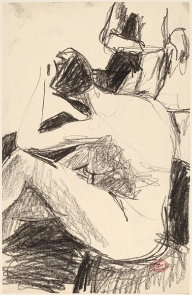 Untitled [rear view of female nude with standing figure]
