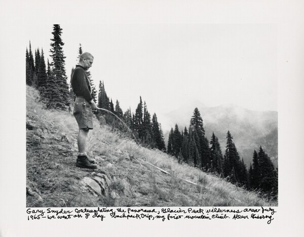 Gary Snyder contemplating the panorama, Glacier Park wilderness area July 1965—we went on 8 day backpack trip, my first mountain climb.