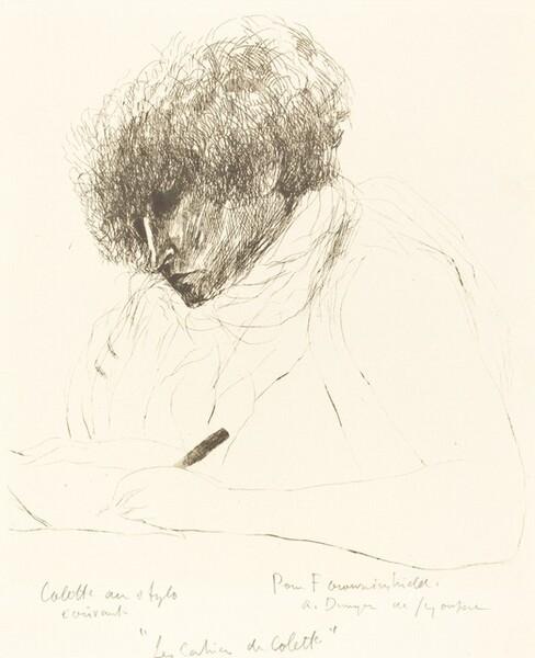 Colette au stylo, ecrivant (Colette with  Pen, Writing)