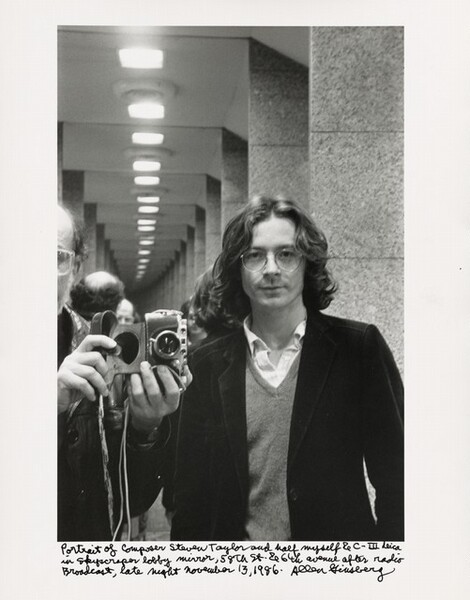 Portrait of composer Steven Taylor and half myself & C—III Leica in skyscraper lobby mirror, 58th St. & 6th avenue after radio Broadcast, late night November 13, 1986.
