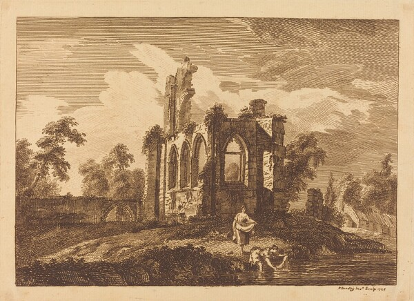 Ruins with Two Women Washing Clothes in a River