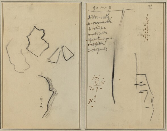 A Profile and Four Shapes; Sketch of a Man