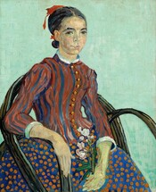 Seen from about the knees up, a young woman sits in a chair angled to our right but she turns her face to look at us in this vertical portrait. Her chair has a rounded back and arms made from what looks like bent woody vines and the background is a solid field of pale aqua. Her dark hair is parted in the middle and tied at the nape of her neck with a red ribbon. Dark eyebrows curve over brown eyes and she has a rounded nose and petal pink lips are slightly parted. Her pale peach skin is tinged with green on her face and hands. Her right arm, on our left, rests along the arm of the chair and she holds a sprig of blooming oleander, with light pink flowers and green leaves, in her opposite hand resting in her lap. The bodice of her high-necked dress is striped with brick red and royal blue, and is lined with a row of round gold buttons down the front. The sleeves come down to her forearms and the cuffs and collar at her neck are white. Her full skirt is royal blue with pumpkin orange dots. The brushwork is loose throughout and individual brushstrokes are visible, especially in the stripes of her bodice and the patchy peach tones that make up her skin.