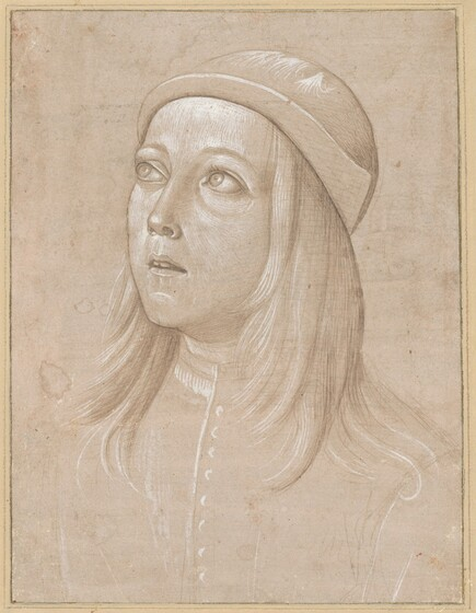 Pinturicchio, Head of a Youth Looking Up, c. 1485c. 1485
