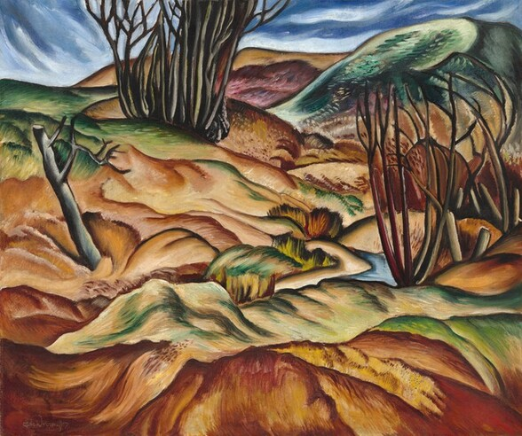 """A hilly terrain with ridges, bushes, trees, and rocks outlined in dark brown and filled in with earthy tan and pecan browns, goldenrod yellow, and moss and emerald greens, almost fills this nearly square, stylized landscape painting. Framing the scene is a steel-gray, broken tree trunk to our left and a small grove of leafless bushes, with vertical, nearly straight branches to our right. Another grove of tightly spaced tree trunks is clustered near a smoky, plum purple ridge at the back center, and a touch of clear blue towards the lower right corner suggests a winding stream. A narrow band of sapphire blue sky along the top edge of the canvas is streaked with white clouds painted with long swipes of the brush. The artist signed the work in the lower left corner, """"Hale Woodruff."""""""