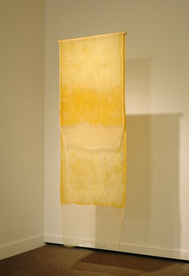 A long, rectangular strip of yellowed painted fabric is draped over a horizontal wooden rod that hangs from the ceiling. The cheesecloth hangs straight down either side of the dowel so it is longer in the back, and the ends do not touch. An uneven application of latex paint on most of the fabric gives the work a rubbery appearance, and causes some variation in the surface to create shiny areas. The loose weave of the cheesecloth is visible at the ends where the fabric was not painted. The cloth and dowel seem to float in midair because the filament from which the rod hangs is invisible in this photograph.