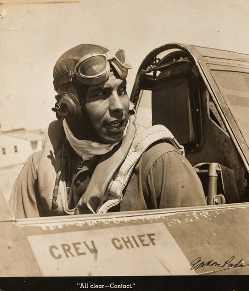Lt. Wild Bill William Walker, former college athlete, in the cockpit of a P39, Selfridge Field, Michigan (All clear—Contact.)