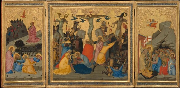 """A square panel flanked by two tall, rectangular panels all have gold frames and shimmering gold backgrounds behind groups of people, all of whom have light skin. On the square, central panel, three men hang on wooden crosses above people crowded below. The crucified men wear only white cloths across their hips and their skin has a green cast. A halo encircles the bent head of the man on the middle cross, Jesus, who wears a ring of thorns in his long, red hair. Blood trickles down his forehead and drips from nails driven through his hands and overlapped feet, and from a gash over his right ribs, to our left. Four winged angels are painted entirely in tones of dark, cobalt blue and fly in pairs on either side of his body. An inscription over the top of the cross reads """"INRI"""" in gold letters against a red field. The other two crosses are spaced evenly to either side. The men are tied with their elbows hooked unnaturally back over the crossbeams and wounds on their broken shins pour blood. The man to our left tilts his head up as one small, golden angel touches the back of his head and the other lifts a miniature version of the man from his parted lips. To our right, the man's eyes roll back and his mouth gapes open as two black, winged creatures like dragons fly overhead. In the bottom left corner, a group of four women comfort a reclining woman with long blond hair wearing a blue cloak. In the right corner, a group of three men tug at a blue tunic, as they draw straws from one man's fist. Other men and women, a few with golden halos, cluster at the feet of the crosses, wearing robes and armor in shades of buttercup yellow, coral and brick red, light and lapis blue, and brown. The left panel shows a haloed man, Jesus again, kneeling on a flat rock above a stylized garden. Hands crossed over his chest, he looks up in profile facing our left at a small angel with a red gown and wings offering a chalice. Closer to us, Jesus appears for a second time in this panel, greetin"""