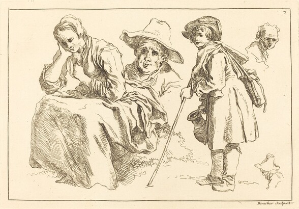 Figure Studies including  Standing Boy Holding a Pitcher