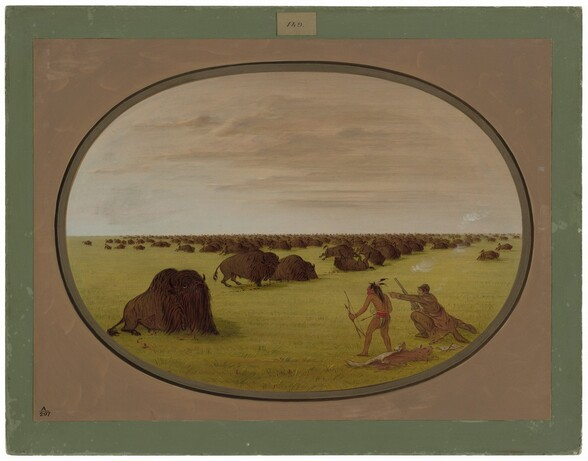 Catlin and Indian Attacking Buffalo