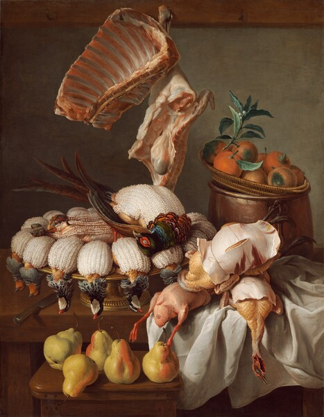 This vertical still life painting shows a grandiose display of dead pheasants, slabs of meat and ribs, and fruit, all arranged on a tabletop that seems close to us. Five golden pears sit on a wooden stool in front of the table, to the left of center. More than a dozen pheasants are arranged belly up on a gold platter with pedestal foot on the table to our left. Their plucked bodies are covered with a layer of white textured lard while the feathers on their heads and neck are left intact. Two of the three fully plucked birds stacked on a tousled white tablecloth to our right are wrapped in what looks like paper at first glance but turns out to be thin slices of meat, and tied with twine. A woven wicker basket with at least eight oranges rests on the opening of a tall copper cooking pot to our right, behind the plucked birds. A rack of ribs and slab of meat with some entrails hang from hooks in a horizontal rail that is cropped by the top edge of the painting. The palette is dominated with warm browns, ochre, and white, with touches of green, orange, and blue.