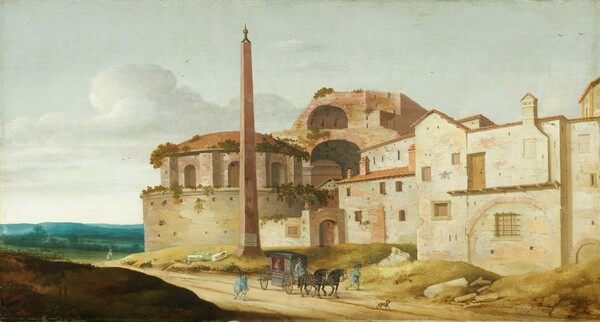 A sand-colored church dominates the right two thirds of this canvas in this horizontal landscape. Low-lying blue-green recede into the deep distance to our left. To our right, the building is made up of staggered, squared-off walls with rectangular windows set at seemingly irregular intervals. To the left and near the center of the composition, a circular building has a low domed roof. Plants growing on the building suggest that this is a ruin. A tall obelisk stands in front of the round portion of the church, to the left of center in the composition. We seem to look into the arched ruins or construction of another building behind and above the church. A dirt road crosses diagonally from our left to right in front of the structure. A person wearing a red hat and purple robe sits inside a carriage drawn by two black horses. The driver wears blue livery, as do two men walking alongside the carriage.
