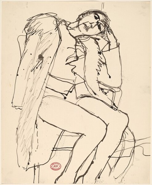 Untitled [seated woman in coat with fur collar]