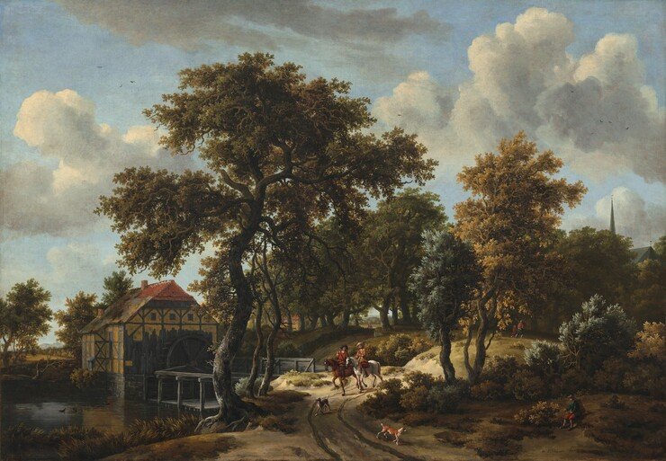 Two light-skinned men on horseback ride towards us on a rutted, country road set in a sweeping view with a watermill along a river to our left, and a screen of trees to our right in this horizontal landscape painting. The horizon comes about a third of the way up the composition, and many of the trees and the watermill are shown against the white and dove-gray clouds rolling across the pale blue sky. The riders are small in scale when compared to the landscape. The man to our left rides a chestnut-brown horse and wears a brick-red jacket and a black, wide-brimmed hat pushed back on his head. The man to our right, on a silvery gray horse, wears a camel-brown hat and clothing. White streaks at their necks and cuffs suggest lace or linen undershirts. Both horses walk with their bodies angled slightly to our left on the curving path. Two dogs trot ahead of the riders, towards us. A charcoal-gray, wooden bridge beyond the men to our left leads to the watermill. The squat, wide building is constructed on a stone foundation with wooden post and beams that make a geometric pattern within the canary-yellow stucco. The gabled roof is covered with terracotta-red tiles at the peak closest to us, but the rest appears thatched in gray and tawny brown. One small chimney rises from the center and the other from the end farther from us. A tall, water wheel is affixed to the shaded side of the building closest to us. A few ducks float in the grass-lined river near the lower left corner of the composition. The trees that dominate the right half of the canvas are painted with shades of moss, sage, and muted jade greens and golden yellow. Only closer inspection reveals the tip of a church spire rising behind the treetops to our right. Moreover, a man wearing a tall sack on his back and holding a walking stick sits on a low rise near the lower right corner, and a man and child walk away from us along the path in the distance, into the trees. The leaves and twisting, ash-brown trunks are 