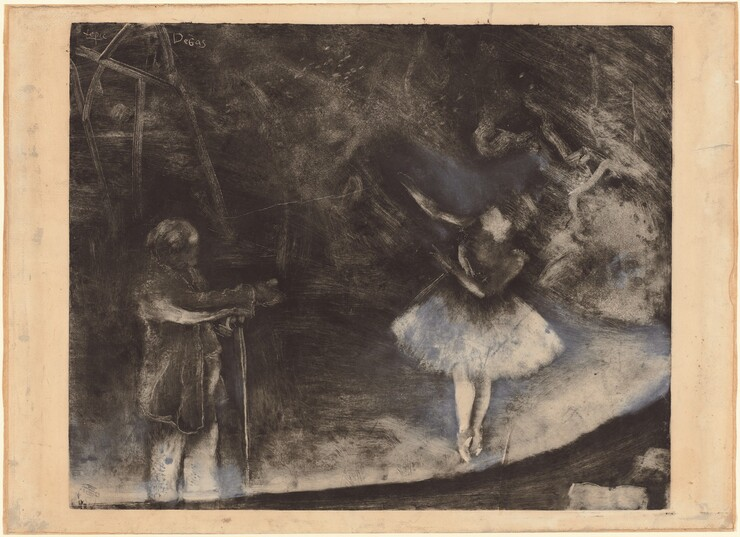 "We seem to look down onto a shadowy stage with a ballerina and a dance instructor in this black and white work on paper. The man stands in the lower left corner of the composition wearing a knee-length jacket and resting his wrists on a tall stick in front of his body. Though his face and head are lost in deep shadow, it seems that he looks towards the ballerina to our right. Up on her toes en pointe, her body faces us but her arms are raised and angled towards the upper left corner of the composition. She turns her upper torso and head to gaze in the direction of her hands. Lighting comes from the front edge of the curving stage and illuminates the man's pants and undersides of his arms, the dancer's legs, tutu, and face, and the front part of the stage. The space behind the people is lost in shadow but is marked by brushstrokes and smudges. In the upper left corner the names of the artists are scratched onto the ink that had coated the surface of the printing plate: ""Lepic"" and ""Degas."""
