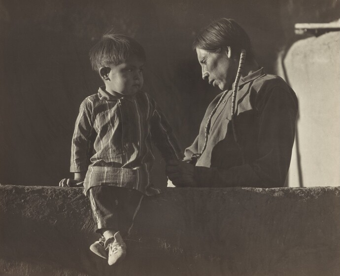 Marjorie Content, Adam Trujillo and His Son Pat, Taos, Summer 1933