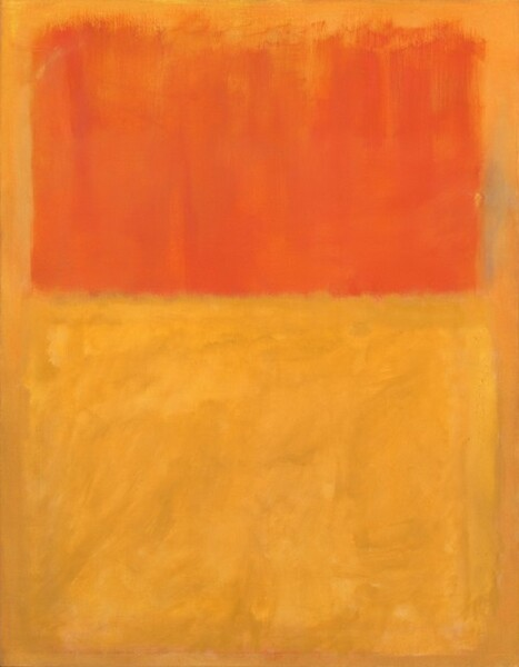 A tangerine-colored rectangle and a butter yellow rectangle float against a golden yellow field in this abstract, vertical painting. At the top, the tangerine rectangle extends nearly the width of the painting and goes from near the top edge to just short of halfway down the painting. Below it, a larger rectangle in glowing yellow tones anchors the bottom three-fifths of the painting. The yellow of the bottom rectangle varies from sunshine yellow to tan. The warm, ochre-colored background is painted in a flat, uniform way, and it creates a border around and between the rectangles. The brushstrokes within the rectangles have soft, indistinct edges, with a blurred effect. The tangerine-colored rectangle is formed with upward vertical strokes made with a wide brush that are denser at the bottom and end in a wispy edge at the top. The bottom yellow rectangle has varied brushwork that forms soft, and indistinct cloud-like shapes within the geometric form. At the bottom right edge of the upper, tangerine rectangle, a hint of a vertical, blue-green stroke of paint emerges from beneath the ochre background. Around the edges of the lower, yellow rectangle are subtle hints of tangerine and sometimes blue-green bleeding from around all four edges.