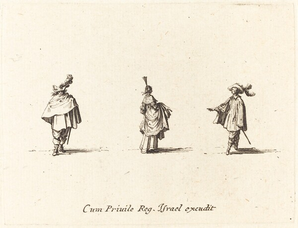 Lady with Dress Gathered Up, and Two Gentlemen
