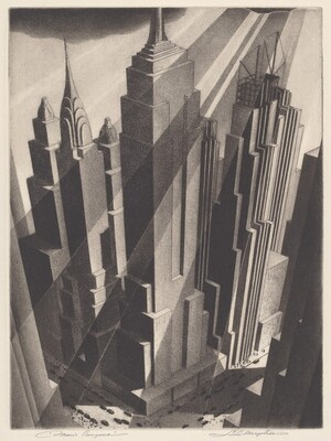 """We seem to look across and down onto a city block crowded with at least five skyscrapers in this vertical, stylized, black and white cityscape. It is almost as if we stand at the top of another skyscraper cattycorner to our view. The bases of the buildings crowd densely within the city block, and they flare slightly outwards extend upwards towards us. There don't seem to be any windows on the flat, solid, smooth faces of the buildings. The buildings nearly fill the composition but dark clouds peek in along the top edge of the print. Rays of sunshine and shadows are shown as alternating bands of light and dark falling diagonally across the building facades from the upper right. Black cars fill the streets running along the two sides of the city block we can see and tiny dots suggest people walking on sidewalks. The print's title is written in pencil in the lower left, """"Man's Canyons,"""" and signed by the artist in the lower right, """"S. L. Margolies."""""""