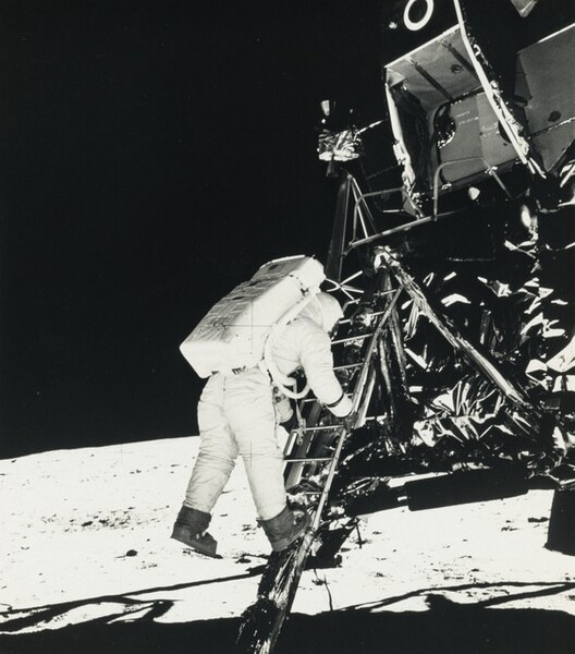 Astronaut Edwin E. Aldrin, Jr. Descends Steps of Lunar Module...