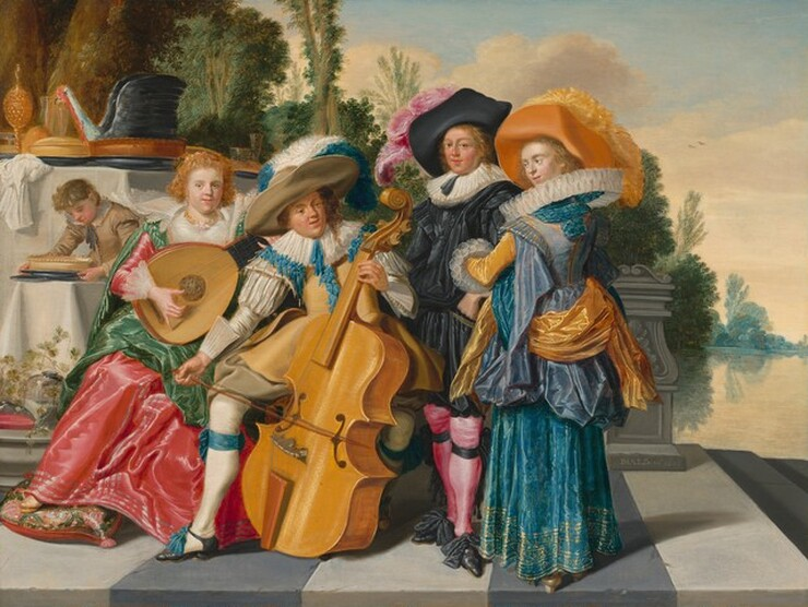 Dirck Hals, Merry Company on a Terrace, 16251625