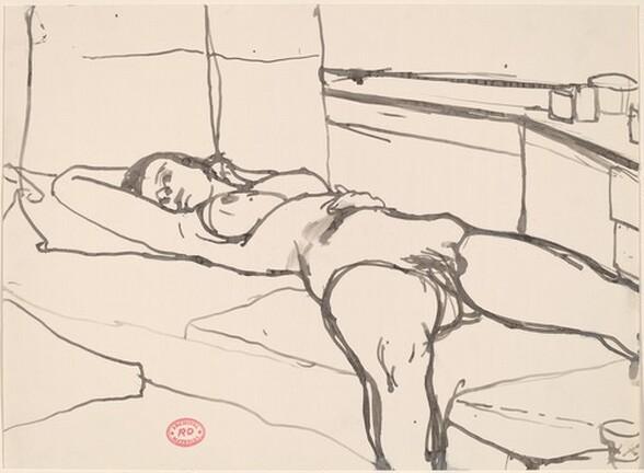 Untitled [female nude reclining in studio]