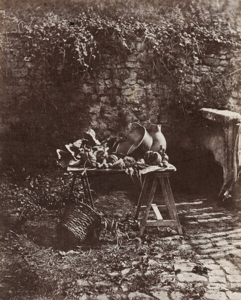 Nature Morte: chaudron, cruche et legumes, sur une table a tretaux (Still Life: Pot, Pitcher and Vegetables on a Sawhorse Table)