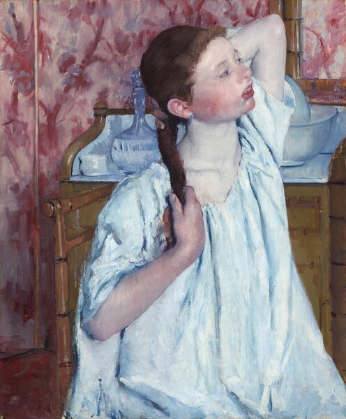 Girl Arranging Her Hair