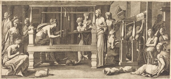 Penelope and Her Maids Weaving