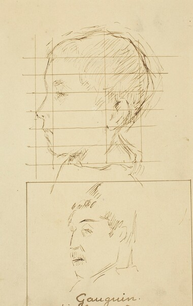 Heads of a Boy and a Man (Self-Portrait?) [verso]