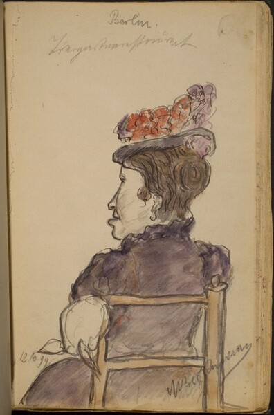 Seated Woman seen from Behind, Wearing a Flowered Hat