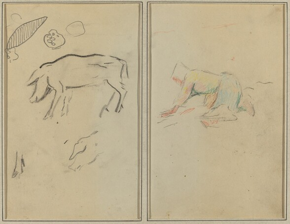 A Pig; Breton Peasant Kneeling [verso]