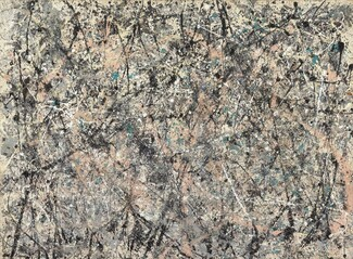 "Densely spaced lines and splatters in black, white, pale salmon pink, teal, and steel gray crisscross a rectangular cream-colored canvas in this abstract horizontal painting. The lines move in every direction. Most are straight but some curve slightly. The density eases a bit near the edges. Two sets of ghostly white handprints are visible at the upper corners. The artist signed and dated the painting in black paint in the lower left corner: ""Jackson Pollock '50."""