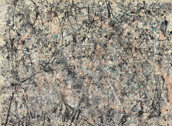 """Densely spaced lines and splatters in black, white, pale salmon pink, teal, and steel gray crisscross a rectangular cream-colored canvas in this abstract horizontal painting. The lines move in every direction. Most are straight but some curve slightly. The density eases a bit near the edges. Two sets of ghostly white handprints are visible at the upper corners. The artist signed and dated the painting in black paint in the lower left corner: """"Jackson Pollock '50."""""""