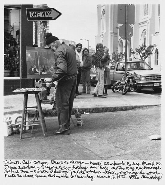Trieste Cafe corner Grant & Vallejo-- Neeli Cherkovski & his friend Dr. Jesse Cabrera, Gregory Corso holding son Nile, mother Kaye MacDonough behind them-- Painter daubing Trieste window- interior, morning haunt of poets & North Beach Bohemians to this day March 16, 1985.