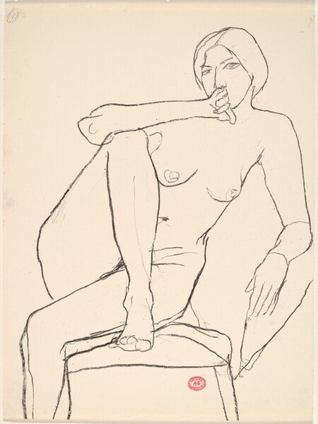 Untitled [seated nude with her right foot on chair seat]