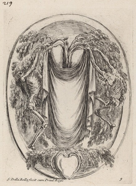 Cartouche in the Form of a Drape Suspended from a Cypress Flanked by Skeletons