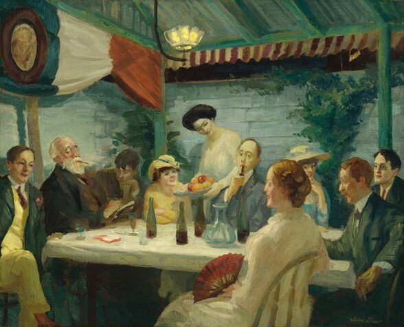 """Six men wearing ties and four women in long dresses are gathered around a long, rectangular table set near a corner of a room with pale blue stone or horizontally paneled walls in this painting. One of the long sides of the table stretches across the composition, and angles a little away from us to our left. One woman wearing a white dress with a high, ruffled collar and holding an open, brick-red fan in her lap sits closest to us, facing our left in profile. Two more women wearing hats sit among the men on the far side of the table, as the fourth woman stands behind the table, bringing a dish of fruit. Her dark hair is piled atop her head and she smiles down at a man holding a pipe to his mouth. The men all have short hair and a few of them are cleanshaven. A man with a full, white beard and possibly wearing glasses sits smoking a dark cigarette or cigar as he looks down, head tipped back, at something he draws or writes in a notebook. At the other narrow end, closer to us, a man with a red mustache and beard seems to speak, his mouth open. Many of the people smile or speak, and their gazes travel across the table at all angles. Some lean back in their chairs and others lean toward or on the table. Their clothing is painted mostly in tones of gray, olive green, buttercup yellow, and brown with a few touches of brick red. The table is covered with a white cloth and set with four bottles, presumably of wine, a wide-bottomed, glass carafe, and several wine glasses. Vines or another plant grows up the blue wall to our right and in the corner opposite us. The wall to our left is draped with a red, white, and blue swag hanging from the ceiling. The beams of the ceiling and the underside of the planks are painted pale teal. The single light hanging from the ceiling resembles an open flower as the glass sides curve up around the light. This scene is loosely painted and brushstrokes are visible throughout. The artist signed the painting in the lower right corner: """"John Sloa"""