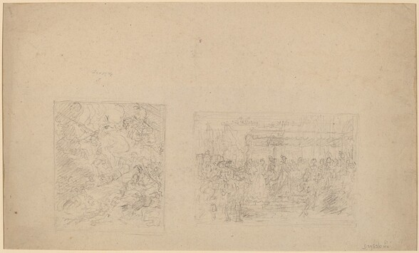 Study of Moses Striking the Rock and a Procession [verso]